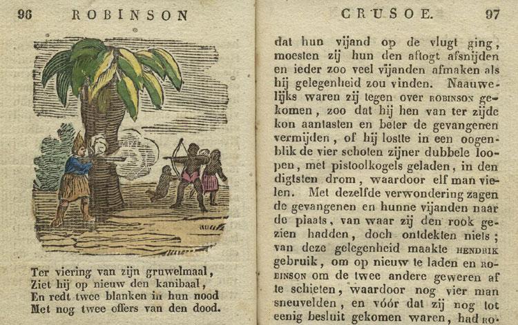 Robinson Crusoe in een editie uit circa 1840