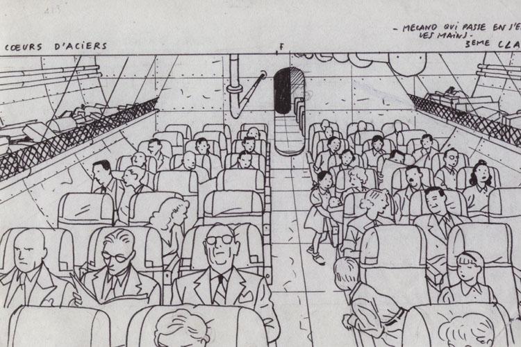 Briljante lijnvoering van Yves Chaland in een schets voor F52