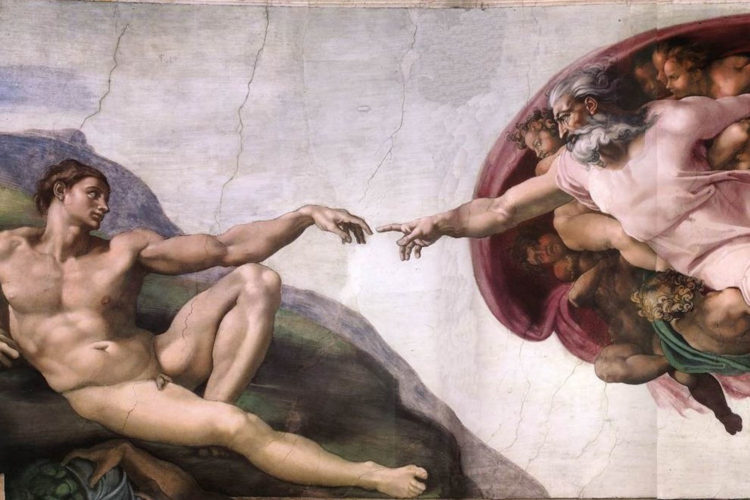 God en Adam door Michelangelo