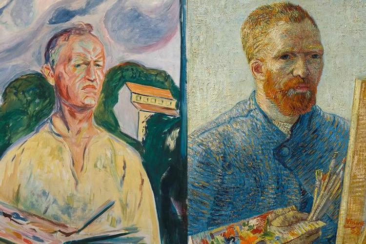 Zelfportretten van Munch en Van Gogh