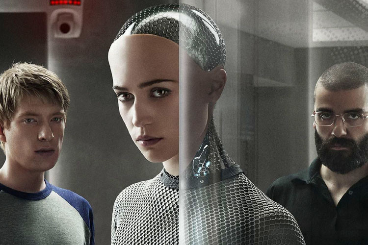 Domhnall Gleeson, Alicia Vikander en Oscar Isaac in Ex Machina, een film over de mogelijkheid van vertrouwen tussen mens en machine