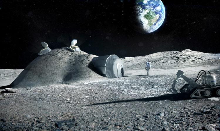 Impressie van een gebouw op de maan (credit: ESA)