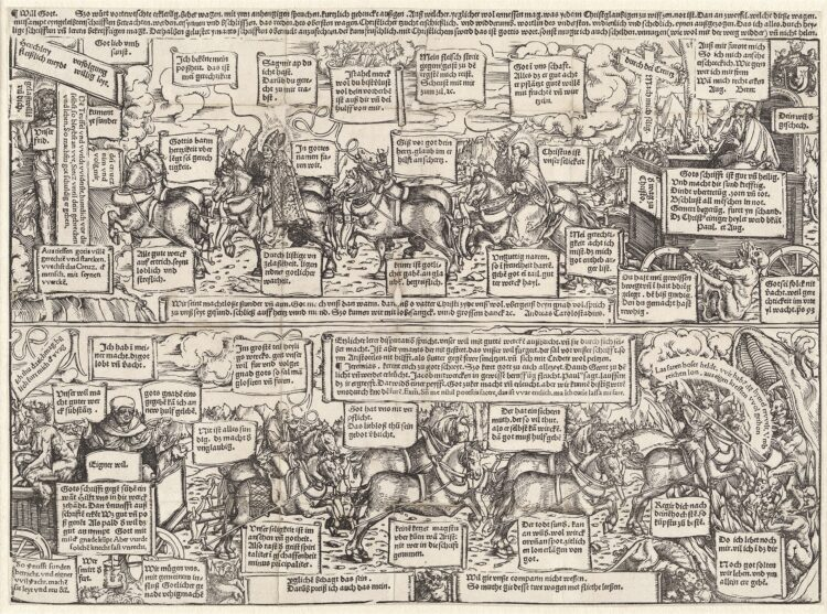 Strip ter ondersteuning van de Reformatie door Lucas Cranach en Andreas Karlstadt
